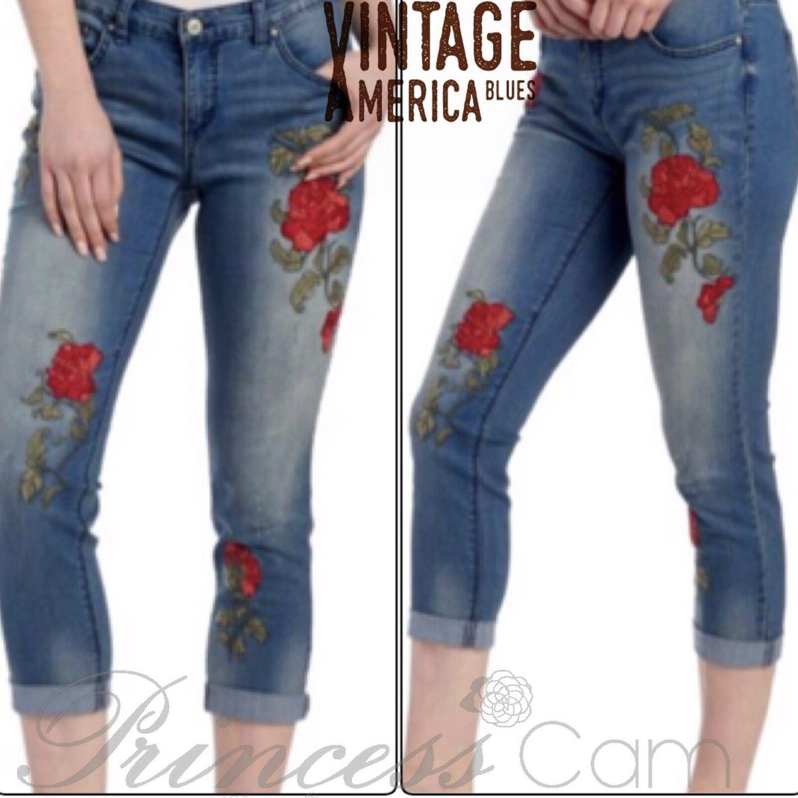 Vintage America Blaus Floral Embroiderot Bestie Jeans