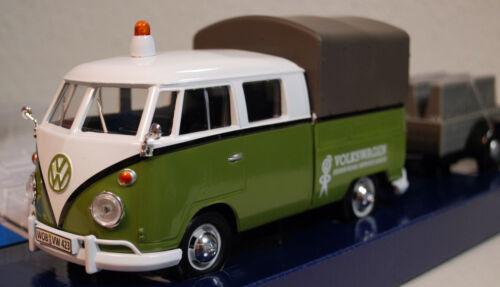1959 Volkswagen VW T 1 Bulli Feuerwehr m Anhänger 1:24 Motor Max 79671