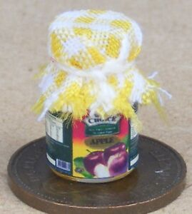 1-12-Scale-Glass-Jar-Of-Apple-Jam-With-A-Yellow-Check-Cloth-Top-Dolls-House-Food