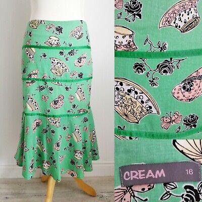 """""""cream"""" Green Hat Print Linen Blend Skirt Uk 16 Flippy Summer Buttetflies Floral"""