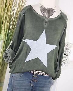 ITALY-MODA-Shirt-STERN-Longsleeve-PAILLETTEN-Vintage-Bluse-Tunika-OLIV-M-L-38-40