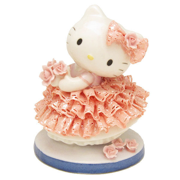JapanLimited !Hello Kitty Pottery Ceramic Lace Doll Stuffed SANRIO Plush Figures