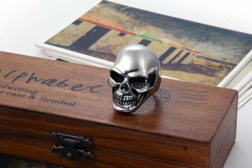 GÓTICO Cráneo Biker pesado de acero inoxidable para hombre Anillo Alto Tono Plata Pulida