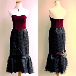 a0f45d65dc0d7 Details about VTG 80s Goth Punk Dress Red Velvet Black Lace Victorian  Formal Gown Mermaid S