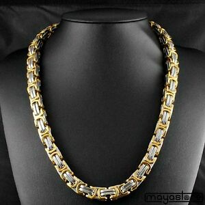 60cm-12mm-BIZANTINO-Collar-Cadena-Acero-Inoxidable-Oro-Plata-Cadena-BIG