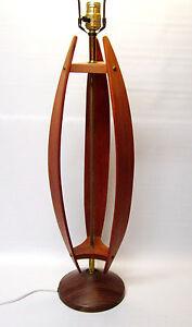 vintage teak wood table lamp mid century modern danish style ebay. Black Bedroom Furniture Sets. Home Design Ideas