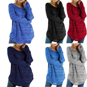 Women-Casual-Jumper-Top-Sleeve-T-shirt-Plus-Size-Tunic-Loose-Long-Baggy-Pullover
