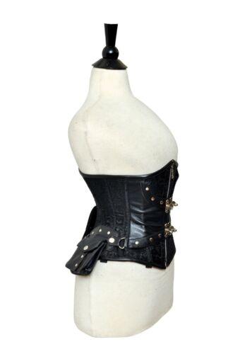 os et ~ 7xl de lacets Corset cuir 2x sous véritable noir acier brocart buste 7qYaF