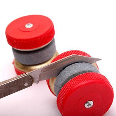 Mini Kitchen Knife Sharpener Stone Abrader W/Two Grinding Wheels Sharpening Tool