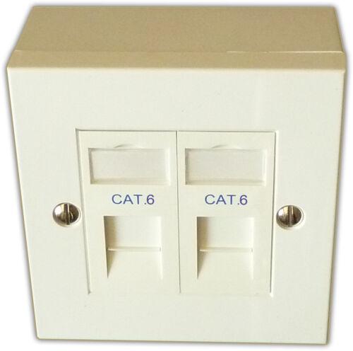 Backbox /& Modulo CAT 6 2 Way Doppio LAN RJ45 Gigabit Ethernet rete la piastra frontale