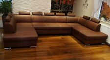 "Rindsleder Ecksofa ""London U-FORM "" Echt Leder Sofa Couch mit Bettfunktion"