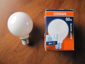 EINE NEUE OSRAM Glühlampe GLOBE BELLALUX SOFT WHITE OPAL E27 G80 60W SIL 60