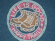 LIFE IS GOOD WOMEN'S S/S  HERITAGE HAPPY TRAILS BOOTS  V-NECK  T- SHIRT SIZE XL
