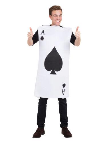 Adult Ace of Spades Costume Mens Ladies Wonderland Casino Fancy Dress Card New