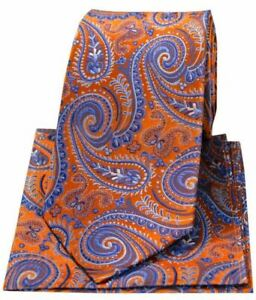 Posh and Dandy Mens Flowers Luxury Silk Tie and Handkerchief Set Navy//Purple//Orange