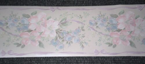 Traditional Satin Pink Blue /& Green Floral Border by Fine Decor 04517