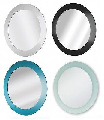 Salle de bains rond support mural miroir noir blanc contour dépoli diamètre 40cm