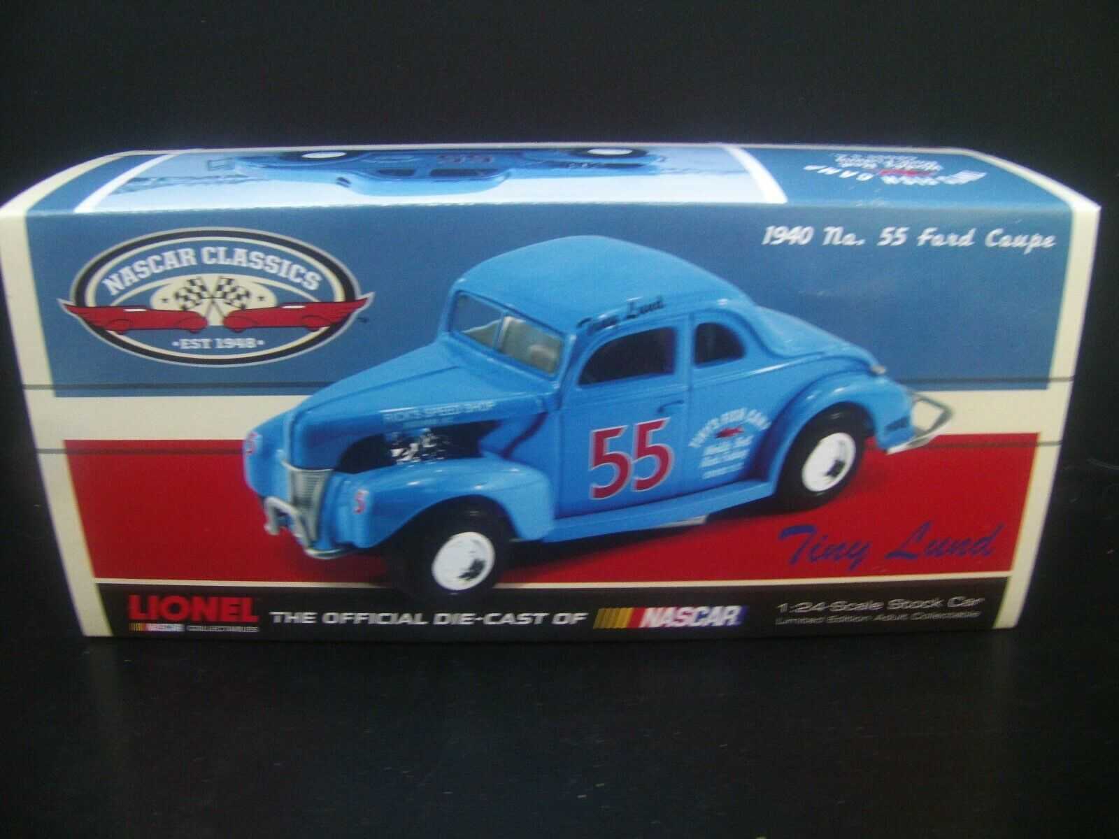 Tiny Lund Modified  55 Tiny's Fish Camp 1940 NASCAR Ford Coupe 1 24 Sealed