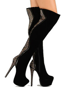 Devon Black Velvet Thigh High Boots Studded Platform Heels Women& ...