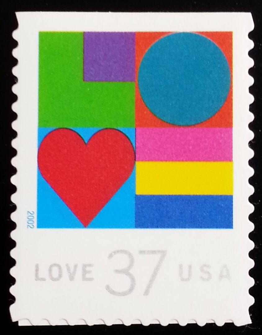 2002 37c Love Heart, SA Scott 3657 Mint F/VF NH