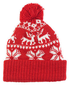 Ladies Girls Christmas Hat Beanie Bobble Winter Hat With Snowflakes ... 73e7e0f05fa