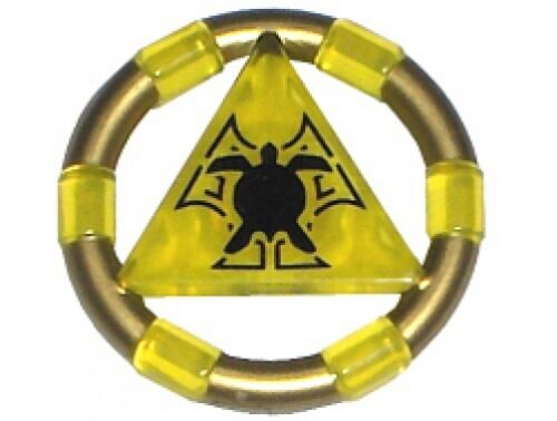 Treasure Key w// Gold Bands and Turtle Pattern LEGO 7985 Atlantis Yellow
