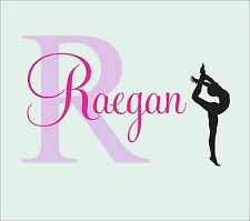 Girls name decal gymnast wall decal Gymnastics Vinyl Sticker Decals Art Decor