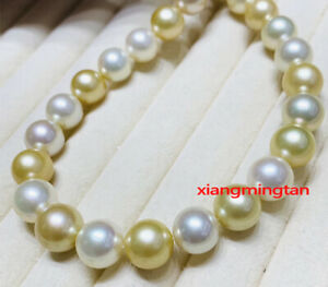 """AAAAA 20""""11-12mm natural REAL south sea white gold Multicolor pearl necklace 14K"""