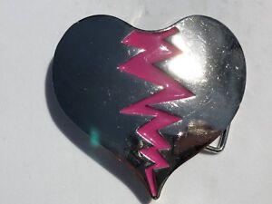 Vintage-VEEVE-Silver-Tone-Broken-Heart-Retro-80-039-s-Pink-Cracks-Belt-Buckle