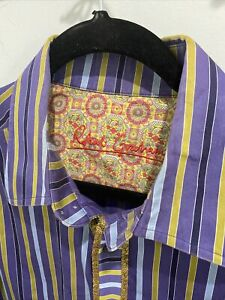 Robert-Graham-Mens-Large-Multicolor-Blue-Stripe-Button-Down-Shirt-Flip-Cuff
