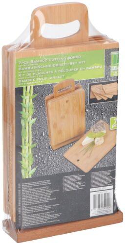 7 tlg Set Schneidbretter+Ständer aus Bambus Holz Küchenbretter