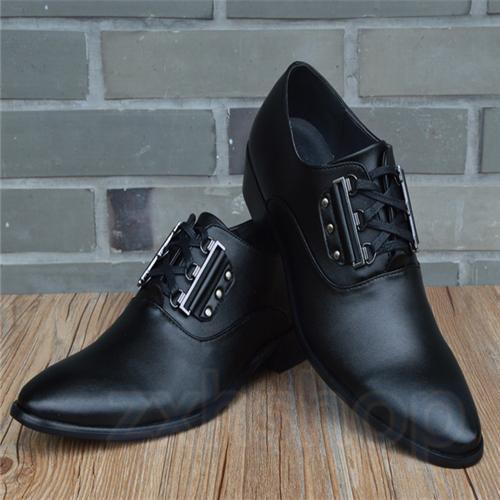 Herren Britisch Spitz Luftig Metall Anzug Absatz Business-Schuhe Mit Metall Luftig Zierde 08117c