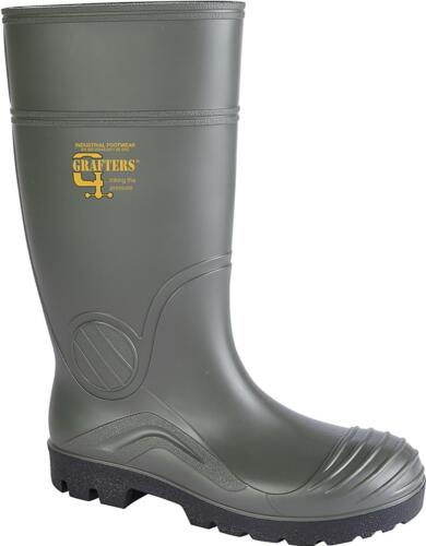 Grafters W408E Men Steel Toe Penetration Resistant Wellington Safety Boots Green