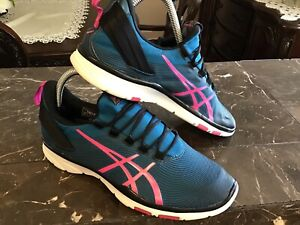 ASICS-Womens-Gel-Fit-Sana-2-Training-Shoes-Blue-Pink-S561N-Trainers-Low-Top-8-5