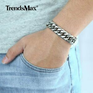 316L-Stainless-Steel-15mm-Silver-Double-Curb-Cuban-Link-MEN-Chain-Bracelet-8-10-034