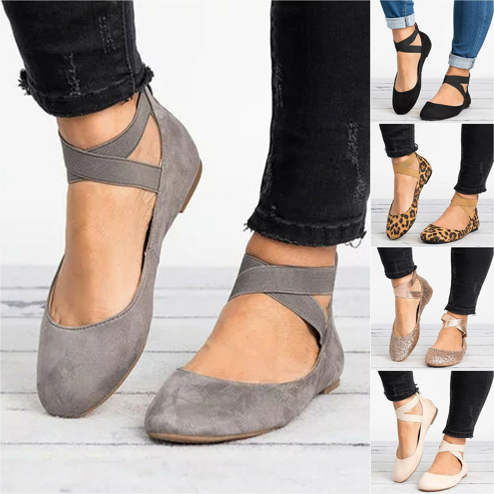 US Women Ankle Court Strap Ballerina Ballet Flats Court Ankle Pumps Summer Casual Shoes Size 7f1599