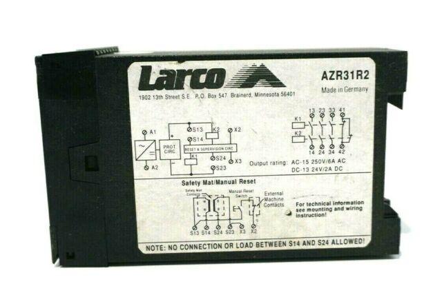 USED 110 VAC Larco AZR31R2 Safety Relay Module LED Indicators 24 VDC