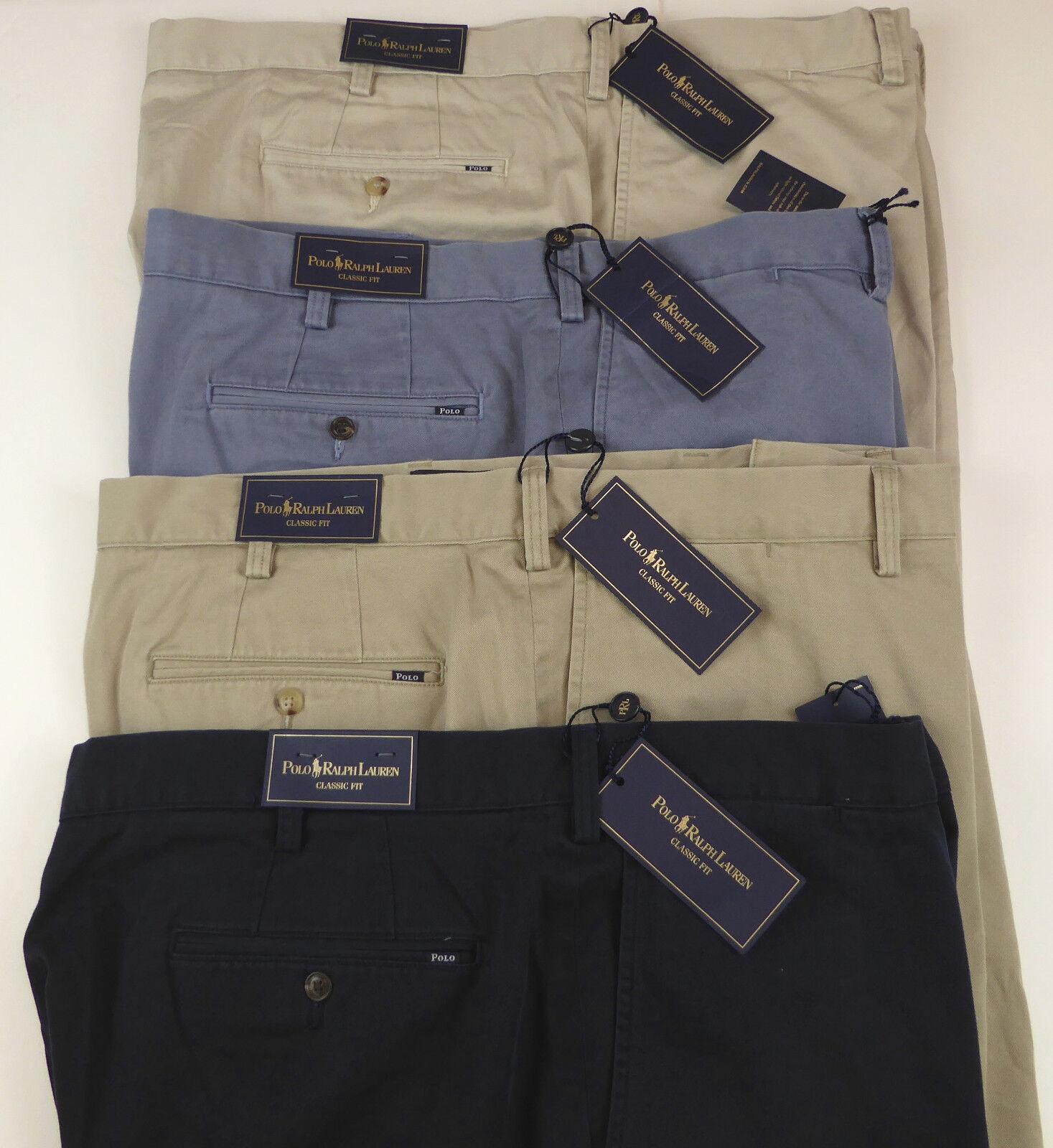 Polo Ralph Lauren Flat Front Classic Fit Cotton Twill Shorts  bluee Khaki  NWT