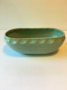 Green Oval Planter Vintage Footed Mid Century Modern Scalloped Speckled Finish