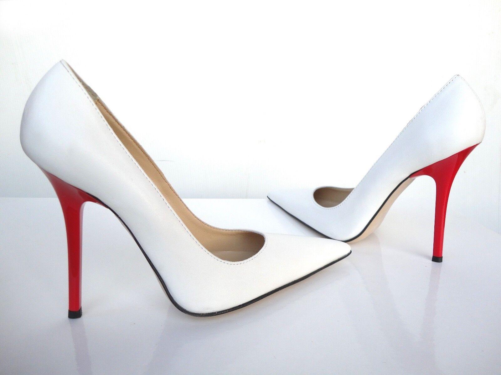 Zapatos De Cuero Cuero Cuero GIOHEL Italia Rojo tacones altos en punta Bombas Zapatos Tribunal Blanco 41- df0d98
