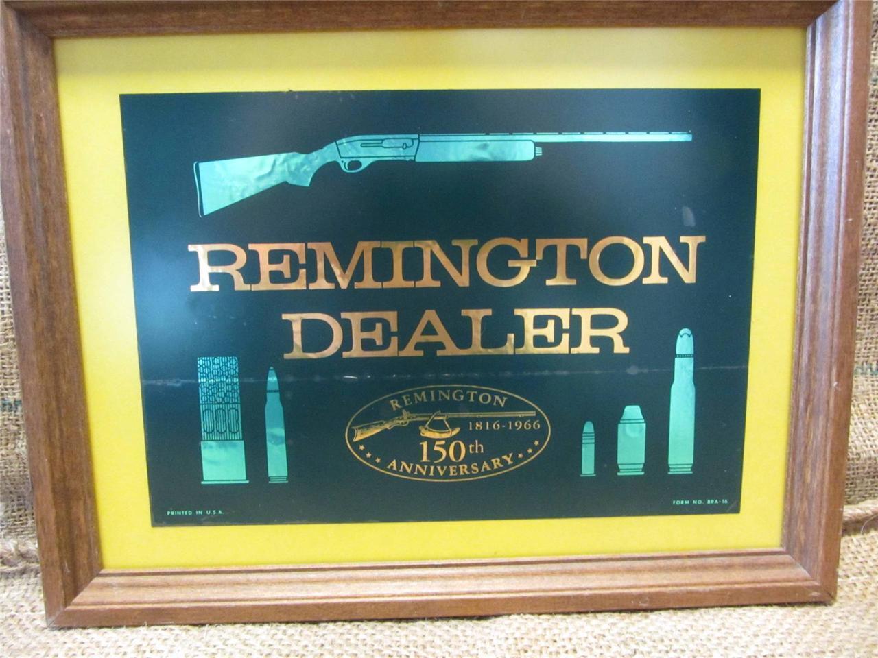 Vintage 1816 - 1966 Remington Distribuidor Enmarcado Pegatina   Antiguo Viejo Raro 8881