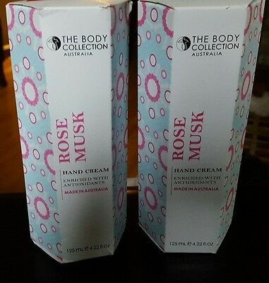 NIB LOT OF 2 THE BODY COLLECTION Australia ROSE MUSK Hand Cream 4.22 fl oz EACH!