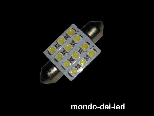 7X Lampada luci targa/interno siluro a led 36/37mm T11 C5W 12 SMD 6000K reali