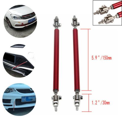 2PCS 150mm Splitter Rod Adjustable Front Bumper Lip Strut Tie Bar Support Steel
