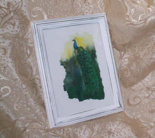 SHABBY WOOD DISTRESSED FRAME CHIC BLUE PEACOCK PRINT FRENCH COTTAGE DECOR
