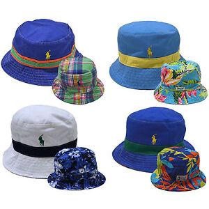 6113569bea2 Polo Ralph Lauren Bucket Hat Reversible Solid Pattern Cap Pony Logo ...