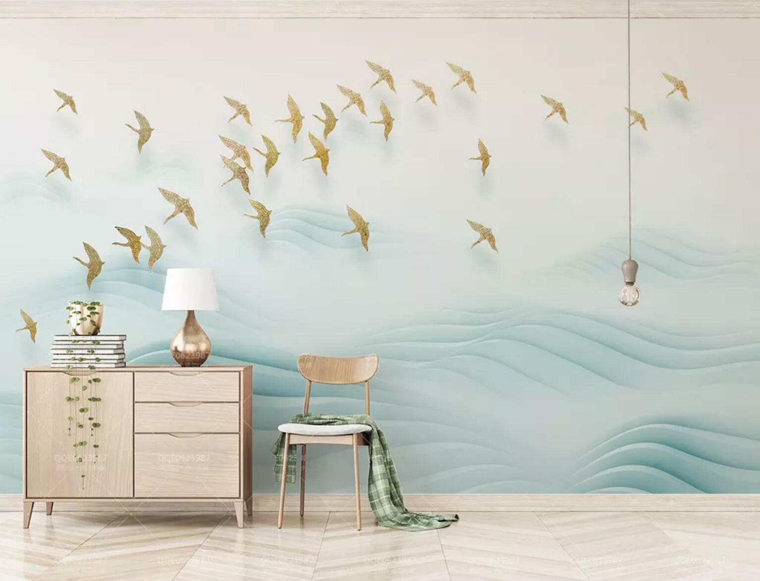 3D Bird Group Hills 4 Wall Paper Exclusive MXY Wallpaper Mural Decal Indoor wall