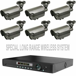 LONG RANGE WIRELESS SIX WEATHERPROOF CCTV CAMERA SYSTEM W/ HDMI DVR