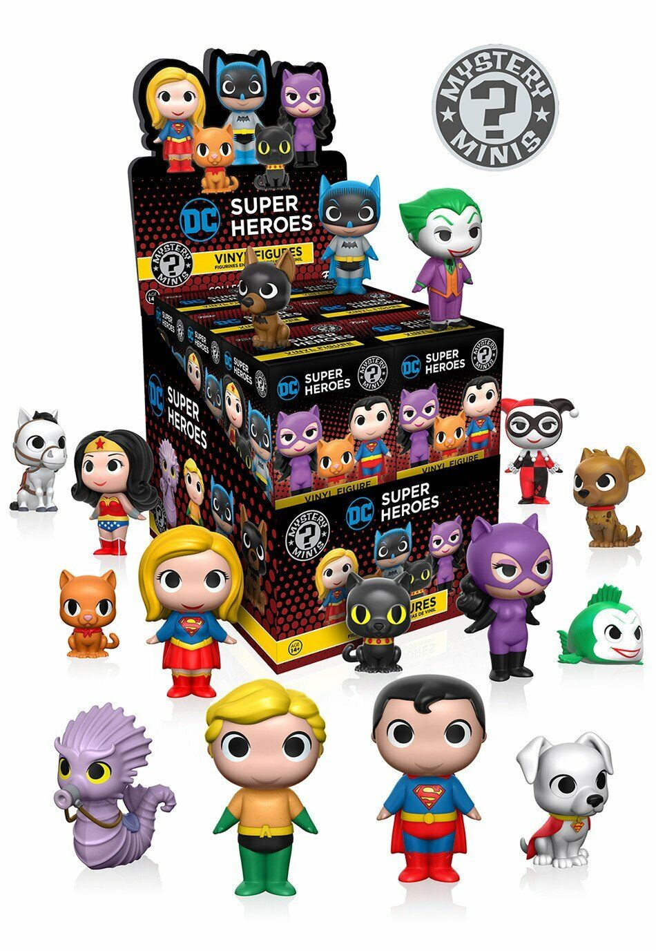 FUNKO Mystery Minis - DC Heroes and Pets. VAULTED. Full box of 12. Sealed