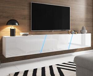 Details zu TV-Lowboard Weiß Hochglanz Lack Hängend / Stehend XXL Board  Slant mit LED 240 cm